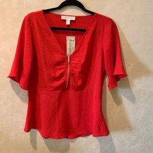 MICHAEL KORS Red Flare Sleeve Blouse Size S